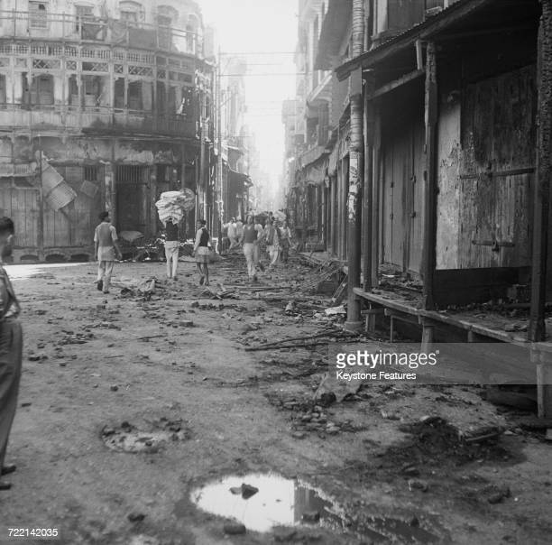 Wrecked buildings after communal riots in Amritsar Punjab during the Partition of British India March 1947 Fighting took place between the city's...