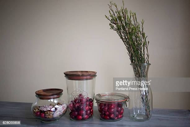 Wrek jars and a Wrek vase filled with holiday treats