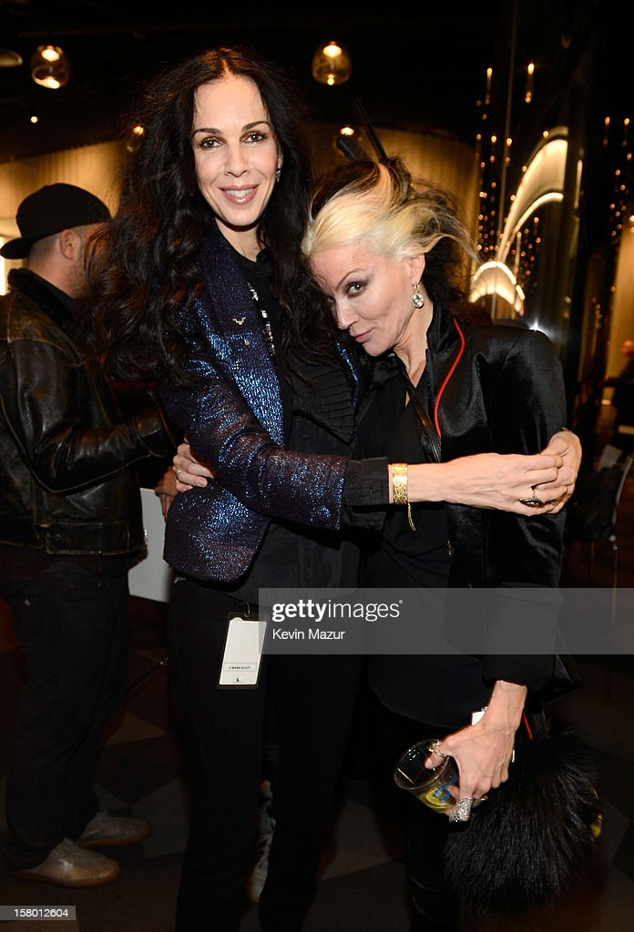 <a gi-track='captionPersonalityLinkClicked' href=/galleries/search?phrase=L%27Wren+Scott+-+Fashion+Designer&family=editorial&specificpeople=566708 ng-click='$event.stopPropagation()'>L'Wren Scott</a> and <a gi-track='captionPersonalityLinkClicked' href=/galleries/search?phrase=Daphne+Guinness&family=editorial&specificpeople=213037 ng-click='$event.stopPropagation()'>Daphne Guinness</a> backstage at Barclays Center of Brooklyn on December 8, 2012 in New York City.