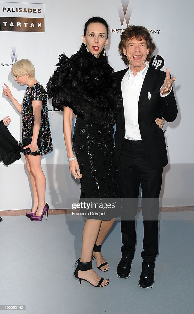 L'Wren Scott and Mick Jagger arrive at amfAR's Cinema Against AIDS 2010 benefit gala at the Hotel du Cap on May 20, 2010 in Antibes, France.