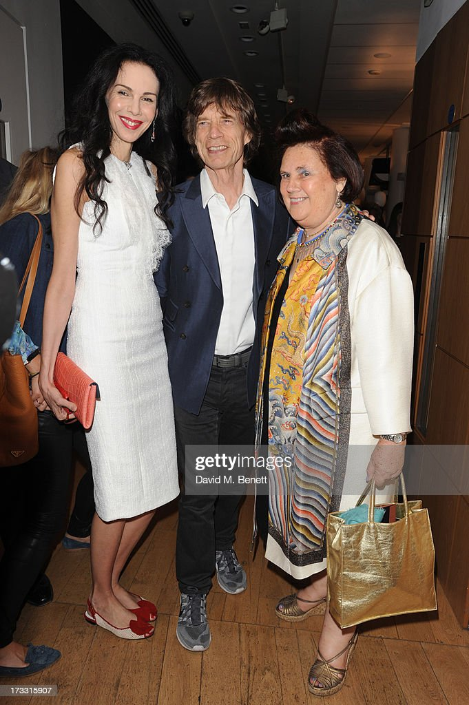 L'wren Scott, <a gi-track='captionPersonalityLinkClicked' href=/galleries/search?phrase=Mick+Jagger&family=editorial&specificpeople=201786 ng-click='$event.stopPropagation()'>Mick Jagger</a> and <a gi-track='captionPersonalityLinkClicked' href=/galleries/search?phrase=Suzy+Menkes&family=editorial&specificpeople=816435 ng-click='$event.stopPropagation()'>Suzy Menkes</a> attend the private view of 'The <a gi-track='captionPersonalityLinkClicked' href=/galleries/search?phrase=Suzy+Menkes&family=editorial&specificpeople=816435 ng-click='$event.stopPropagation()'>Suzy Menkes</a> Collection: In My Fashion' at Christie's on July 11, 2013 in London, England.