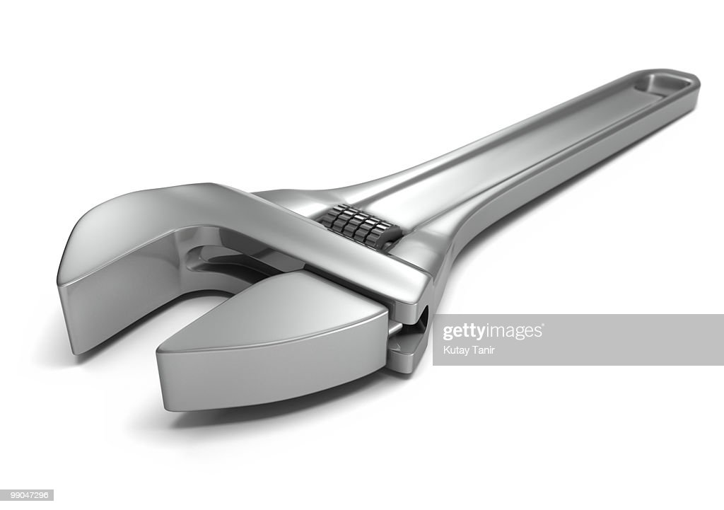 Wrench on the white background : Stock Photo