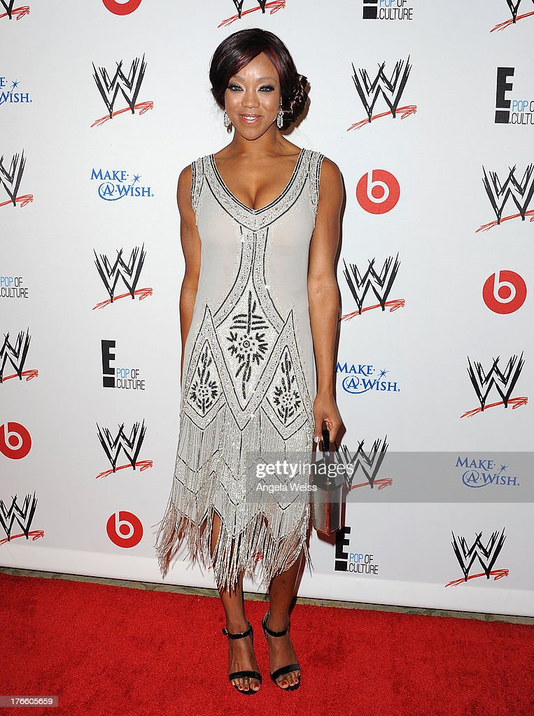WWE wrestler Alicia Fox arrives at WWE and E! Entertainment's 'Superstars For Hope' at Beverly Hills Hotel on August 15, 2013 in Beverly Hills, California.
