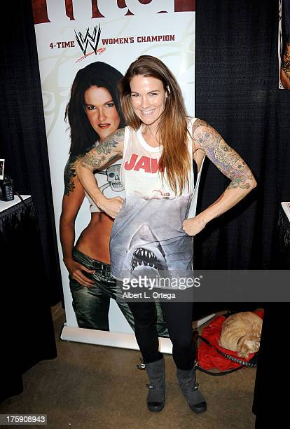 Wrestler Amy Dumas attends Day 1 of Wizard World Chicago Comic Con 2013 at the Donald E Stephens Convention Center on August 9 2013 in Rosemont...