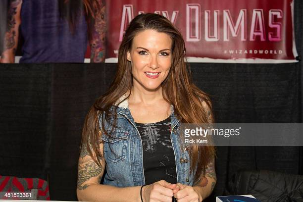 Wrestler Amy Dumas attends day one of the Wizard World Austin Comic Con at the Austin Convention Center on November 22 2013 in Austin Texas