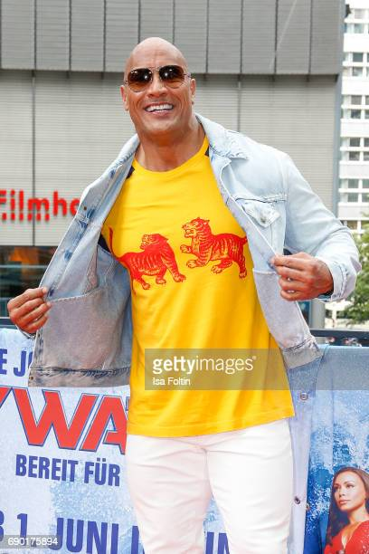 Wrestler and actor Dwayne Johnson attends the 'Baywatch' Photo Call in Berlin on May 30 2017 in Berlin Germany
