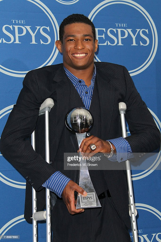 Wrestler Anthony Robles poses with Jimmy V Award for Perseverance in the press room at The 2011 ESPY Awards at Nokia Theatre L.A. Live on July 13, 2011 in Los Angeles, California.