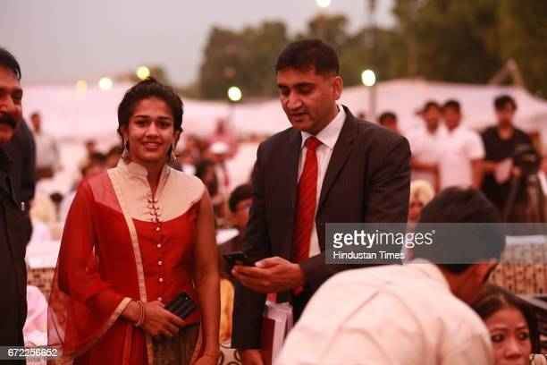 Wrestler Babita Kumari Phogat during the launch of Oorja by CAFP U19 Football Talent Tournament at India Gate on April 20 2017 in New Delhi India The...