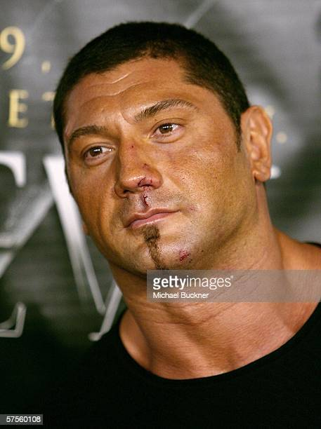 Wrestler Batista arrives at the Lions Gate Premiere of 'See No Evil' at the Century Stadium Promenade 25 on May 8 2006 in Orange California