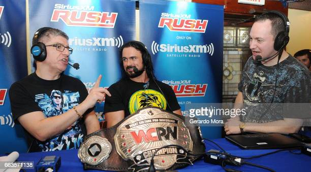 Wrestler Drew Galloway Dave LaGreca and Doug Mortman speak during SiriusXM's Busted Open Live From WrestleMania 33on April 1 2017 in Orlando City