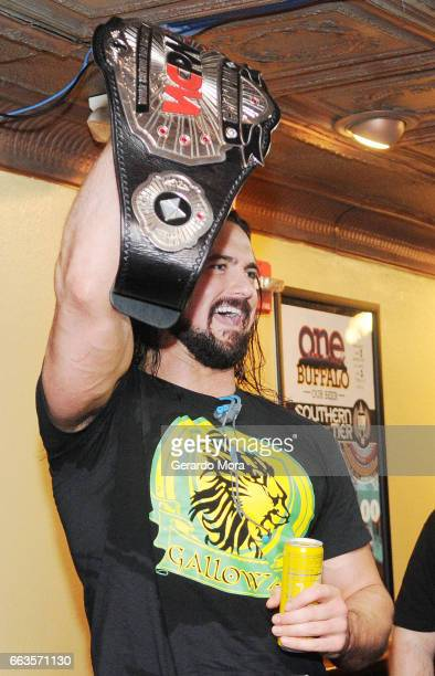 Wrestler Drew Galloway greets the audience the during SiriusXM's Busted Open Live From WrestleMania 33on April 1 2017 in Orlando City