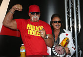 Wrestler Hulk Hogan and wrestling manager Jimmy 'the Mouth of the South' Hart attend the Licensing Expo 2015 at the Mandalay Bay Convention Center on...