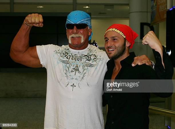 Wrestler Hulk Hogan greets fans as he arrives at Sydney Airport on November 17 2009 in Sydney Australia
