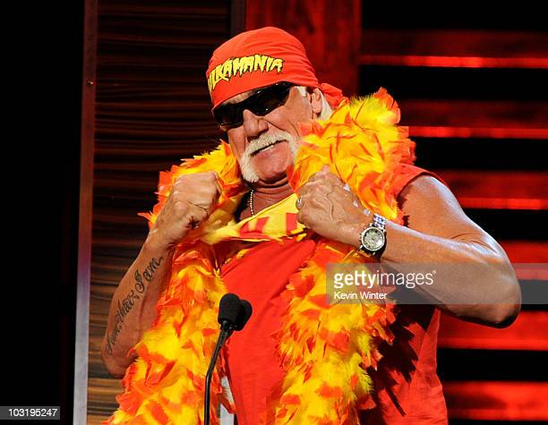 Wrestler Hulk Hogan speaks onstage at the Comedy Central Roast Of David Hasselhoff held at Sony Pictures Studios on August 1 2010 in Culver City...