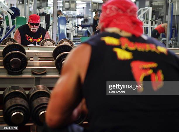 Wrestler Hulk Hogan works out in the gym after recently landing in Australia and ahead of his national tour at City Gym on November 17 2009 in Sydney...