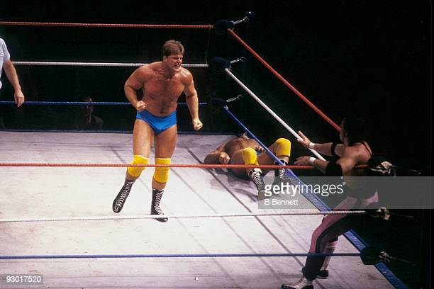 WWF Wrestler Jacques Rougeau moves for Bret 'Hit Man' Hart during a WWF match on July 17 1987 at Nassau Coliseum in New York New York