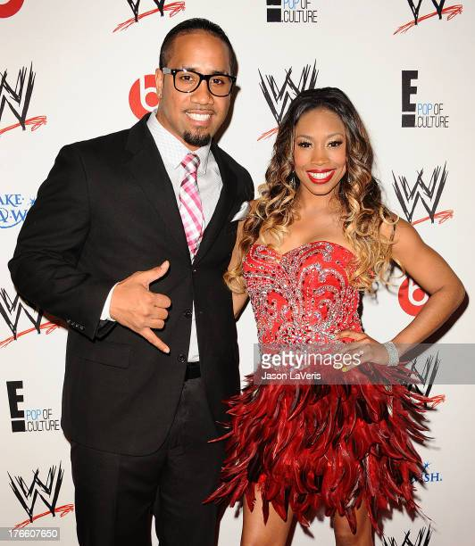 Wrestler Jey Uso and WWE Diva Ariane Andrew aka Cameron attends the WWE SummerSlam VIP party at Beverly Hills Hotel on August 15 2013 in Beverly...