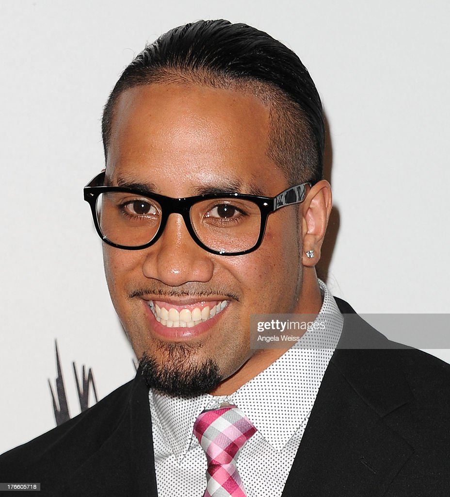 WWE wrestler Jey Uso arrives at WWE and E! Entertainment's 'Superstars For Hope' at Beverly Hills Hotel on August 15, 2013 in Beverly Hills, California.