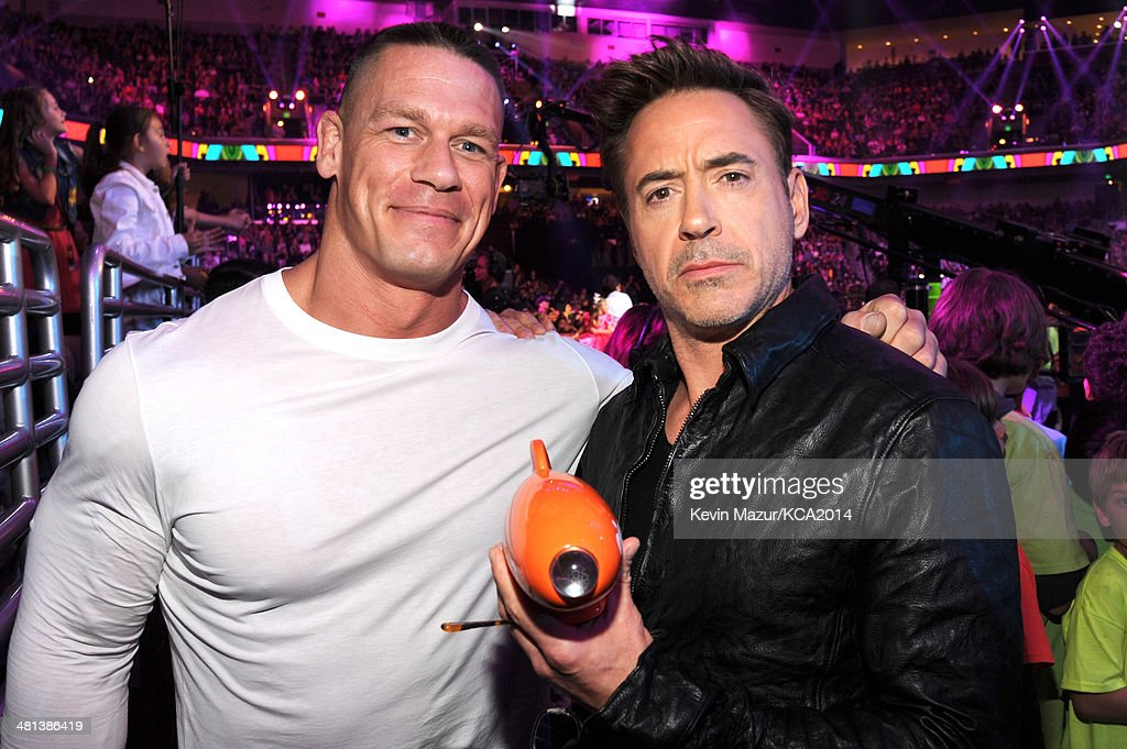 Wrestler <a gi-track='captionPersonalityLinkClicked' href=/galleries/search?phrase=John+Cena&family=editorial&specificpeople=644116 ng-click='$event.stopPropagation()'>John Cena</a> (L) and actor <a gi-track='captionPersonalityLinkClicked' href=/galleries/search?phrase=Robert+Downey+Jr.&family=editorial&specificpeople=204137 ng-click='$event.stopPropagation()'>Robert Downey Jr.</a> attend Nickelodeon's 27th Annual Kids' Choice Awards held at USC Galen Center on March 29, 2014 in Los Angeles, California.