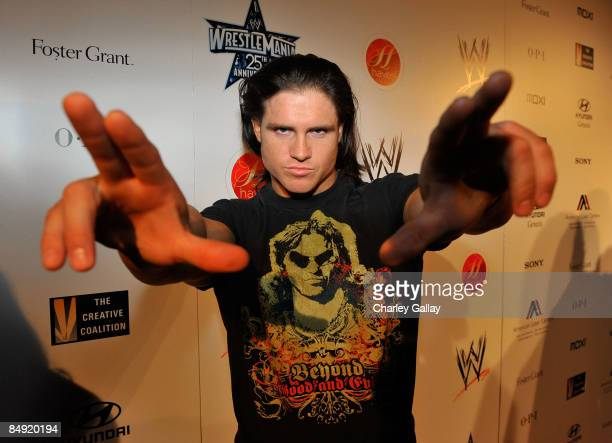Wrestler John Morrison attends WWE's opening night party honoring the 25th Anniversary of WrestleMania and 20th Century Fox/WWE's upcoming feature...