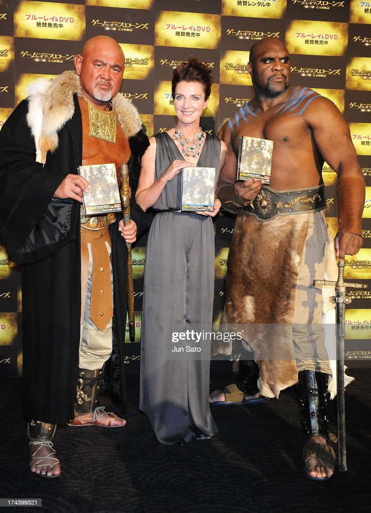 Wrestler Keiji Muto, Actress Michelle Fairley and Kickboxer and actor Bob Sapp attend the 'Game of Thrones' stage greeting at Toho Cinemas Roppongi Hills on July 25, 2013 in Tokyo, Japan.