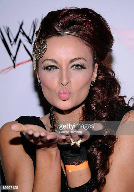 Wrestler Maria Kanellis arrives at the WWE's SummerSlam Kickoff Party at HWood Club on August 21 2009 in Hollywood California