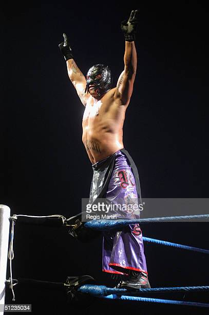 Wrestler Rey Mysterio at the WWE SmackDown Superstars Return of the Deadman Tour at Vodafone Arena August 29 2004 in Melbourne Australia
