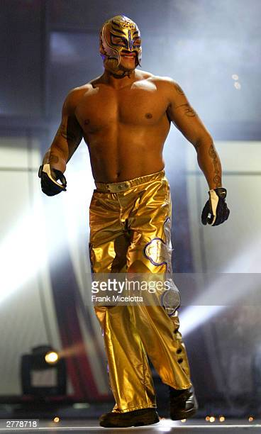 WWE wrestler Rey Mysterio walks on stage during the '1st Annual Video Game Awards' at the MGM Grand Garden Arena December 2 2003 in Las Vegas Nevada...