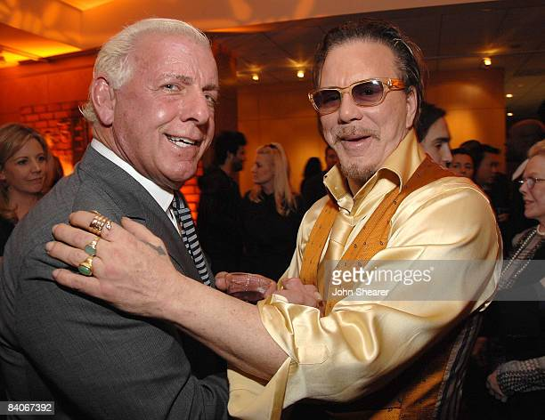 Wrestler Ric Flair and actor Mickey Rourke attend the after party of the Los Angeles premiere of 'The Wrestler' at the Academy Of Motion Arts...