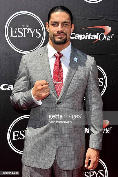 WWE wrestler Roman Reigns arrives at the 2015 ESPYS at Microsoft Theater on July 15 2015 in Los Angeles California