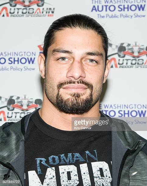 Wrestler Roman Reigns signs autographs during the Washington Auto Show at the Washington Convention Center in Washington DC on January 28 2016