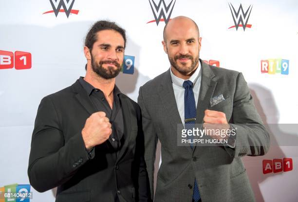 US wrestler Seth Rollins and Swiss wrestler Cesaro pose before the World Wrestling Entertainment show at the Zenith Arena on May 9 2017 in Lille /...