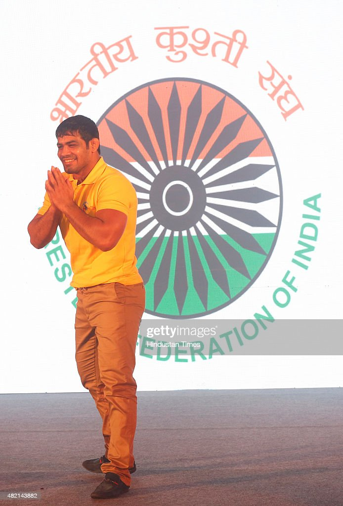 Wrestler <a gi-track='captionPersonalityLinkClicked' href=/galleries/search?phrase=Sushil+Kumar+-+Wrestler&family=editorial&specificpeople=703954 ng-click='$event.stopPropagation()'>Sushil Kumar</a> poses on the ramp at the launch of Pro Wrestling League at Taj Mansingh Hotel on July 27, 2015 in New Delhi, India. The inaugural Pro Wrestling League (PWL) will be held between November 8 and 29 and the six franchise-based event will see the participation of not only the world's top male and female stars but also the young Indian grapplers.