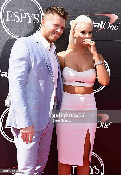 WWE wrestler The Miz and model Maryse Ouellet attend The 2015 ESPYS at Microsoft Theater on July 15 2015 in Los Angeles California