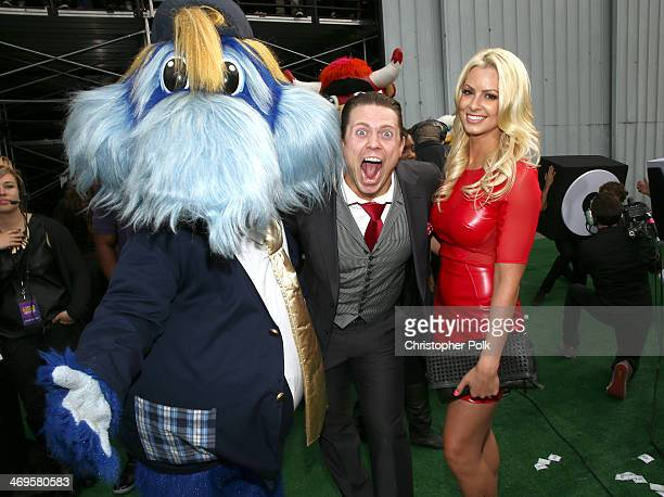 WWE wrestler The Miz and wrestler Maryse Ouellet attend Cartoon Network's fourth annual Hall of Game Awards at Barker Hangar on February 15 2014 in...