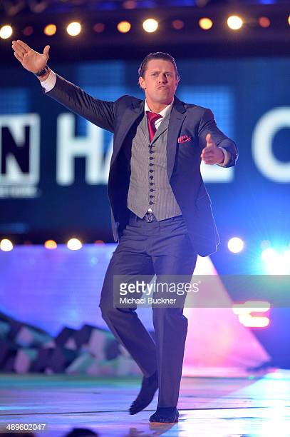 WWE wrestler The Miz speaks onstage during Cartoon Network's fourth annual Hall of Game Awards at Barker Hangar on February 15 2014 in Santa Monica...