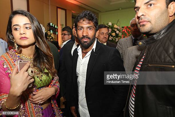 Wrestler Yogeshwar Dutt during an engagement ceremony of Hisar MP Dushyant Chautala and Meghna Ahlawat on January 3 in Gurgaon India Dushyant is the...