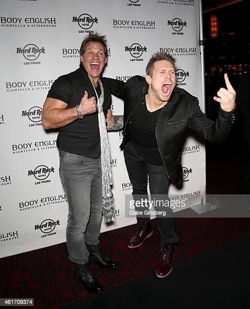 Wrestler/musician Chris Jericho and wrestler Michael 'The Miz' Mizanin arrive at the Body English nightclub inside the Hard Rock Hotel Casino on...