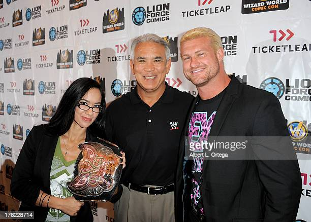 Wrestlers AJ Lee Ricky 'The Dragon' Steamboat and Dolph Ziggler attend Day 3 of Wizard World Chicago Comic Con 2013 held at the Donald E Stephens...