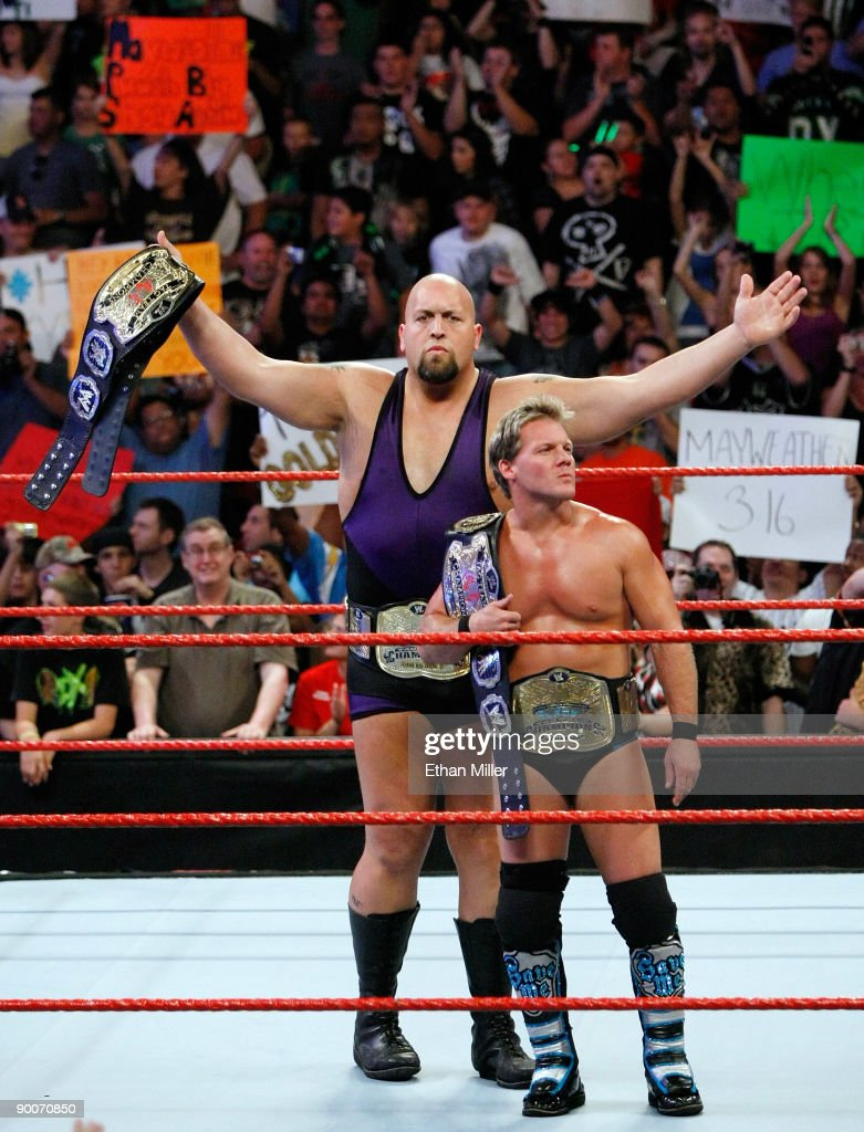 Wrestlers and tag team partners Chris Jericho (L) and Big Show appear in the ring during the WWE Monday Night Raw show at the Thomas & Mack Center August 24, 2009 in Las Vegas, Nevada.