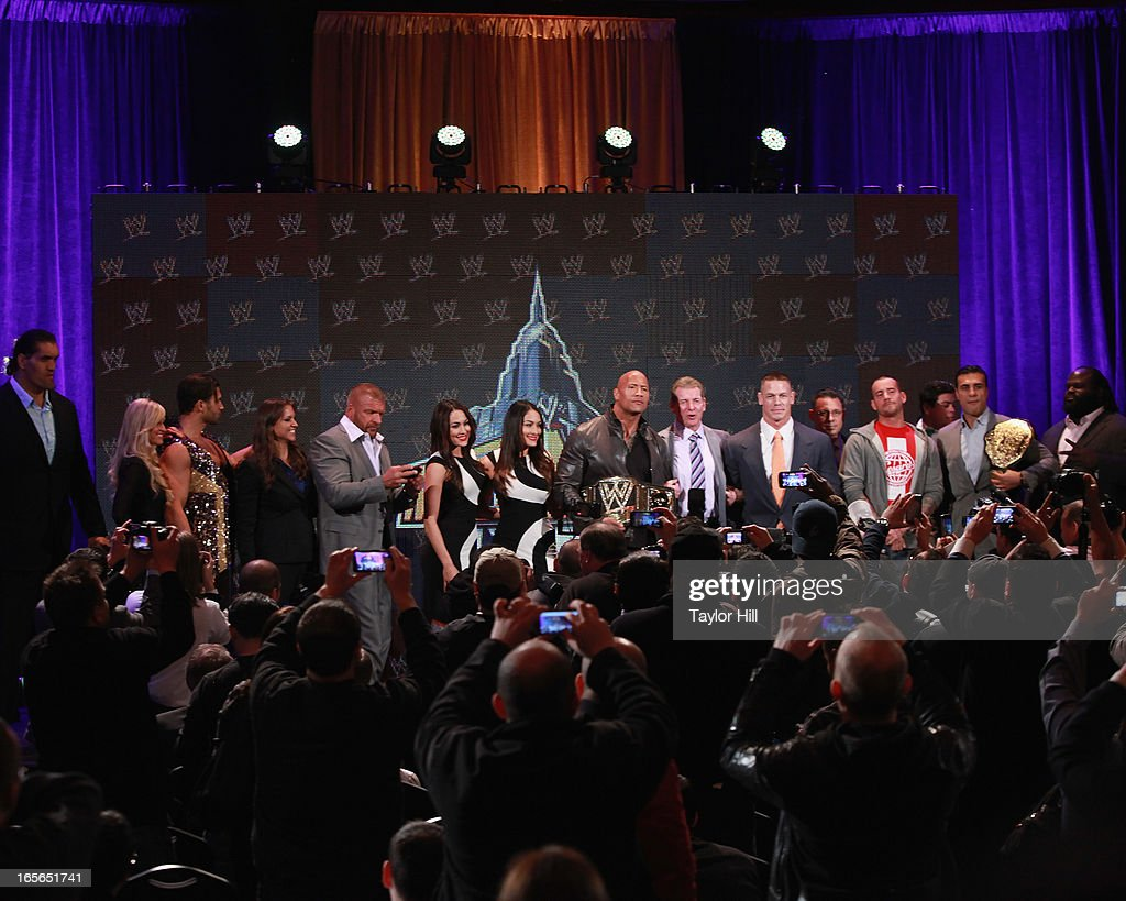 Wrestlers attend the WrestleMania 29 Press Conference at Radio City Music Hall on April 4, 2013 in New York City.