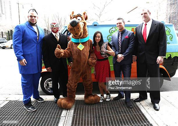 WWE Wrestlers Brodus Clay Sin Cara Scooby Doo Diva AJ Lee The Miz and Kane pose for a picture during the 'Scooby Doo WrestleMania Mystery' New York...