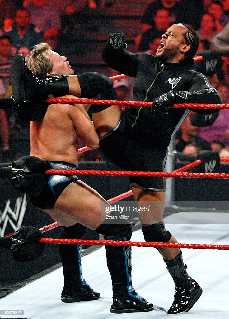 Wrestlers Chris Jericho (L) and MVP compete during the WWE Monday Night Raw show at the Thomas & Mack Center August 24, 2009 in Las Vegas, Nevada.
