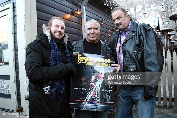 Wrestlers Diamond Dallas Page Scott Hall aka Razor Ramon and Jake 'The Snake' Roberts attend the 2015 Sundance Film Festival on January 22 2015 in...