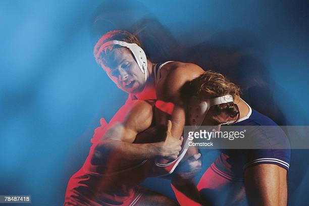 Wrestlers grappling
