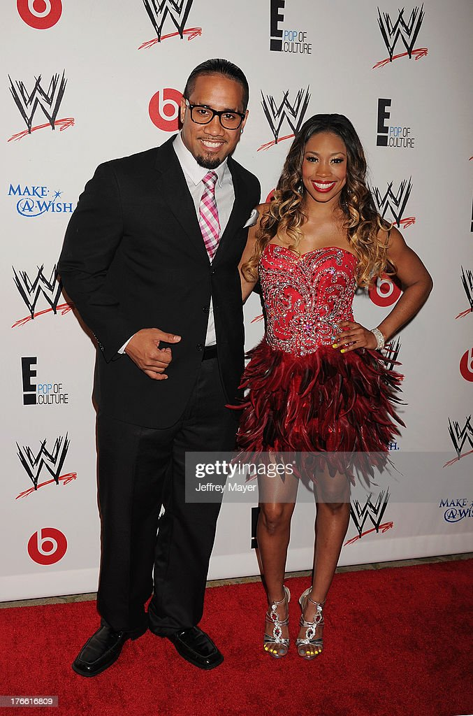 WWE Wrestlers Jey Uso (L) and Ariane Andrew aka Cameron attend WWE & E! Entertainment's 'SuperStars For Hope' at the Beverly Hills Hotel on August 15, 2013 in Beverly Hills, California.