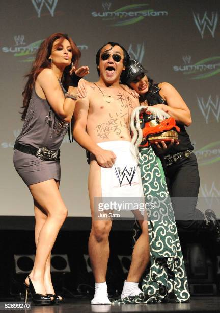 Wrestlers Maria Kanelli comedian Kenji Tamura and Victoria attend the WWE 'Summer Slam' Tokyo viewing party at Shinagawa Prince Hotel Stellar Ball on...