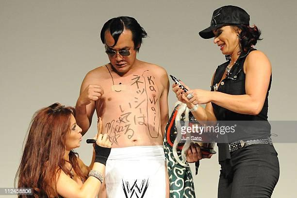 Wrestlers Maria Kanellis Comedian Kenji Tamura and Victoria attend the WWE 'SummerSlam' Tokyo viewing party at Shinagawa Prince Hotel Stellar Ball on...