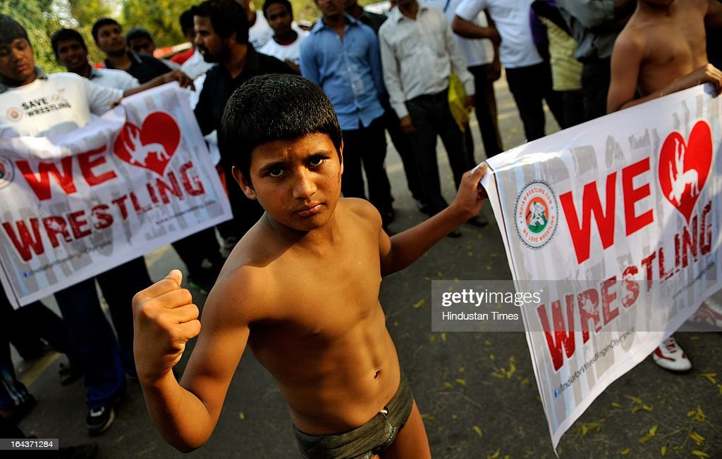 Wrestlers of Delhi marching in protest against the decision of International Olympic Committee to drop Wrestling from 2020 Olympic from Ramlila...