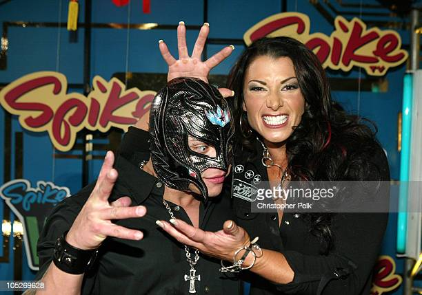 WWE Wrestlers Rey Mysterio and Victoria during First Annual Spike TV Video Game Awards Arrivals at MGM Grand Casino in Las Vegas Nevada United States